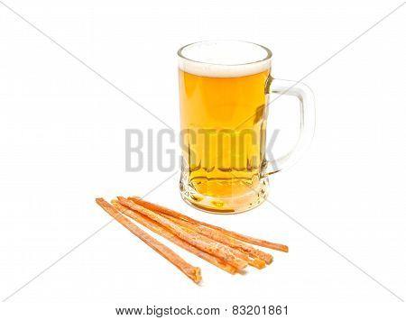 Mug Of Light Beer And Fish Snack