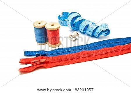 Two Zipper, Meter, Thimble And Two Spools Of Thread