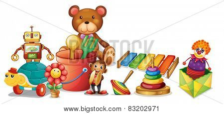 Illustration of a lot of toys on the floor