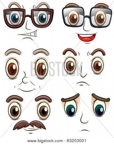 Illustration of facial expressions