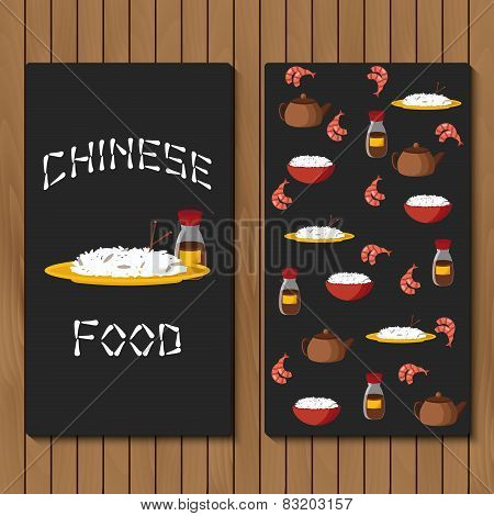 Template for booklet, menu or flyer with objects on chinese cuisine theme