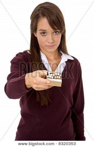 Holding cigarettes