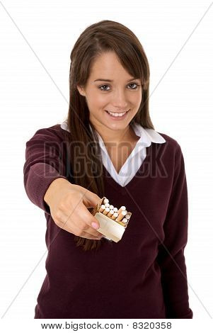 Handing out cigarettes