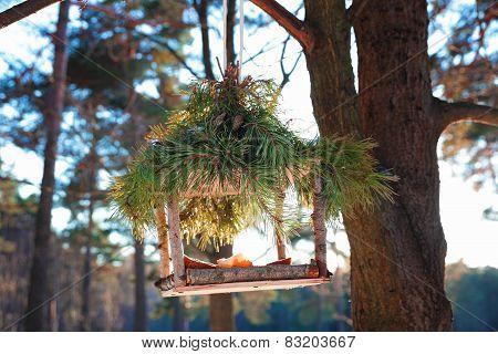 handmade bird feeder in winter