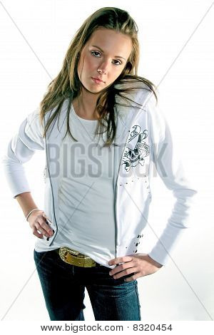 Young Female Model In White Hoodie