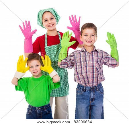 Happy Kids With Gloves