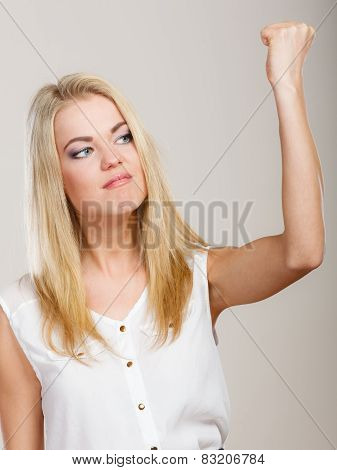 Angry Mad Woman Furious Woman Shaking Fist.