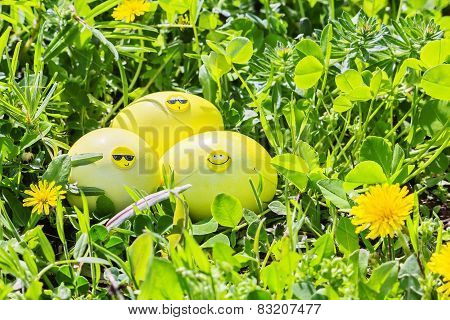Yellow Easter Eggs In Green Grass