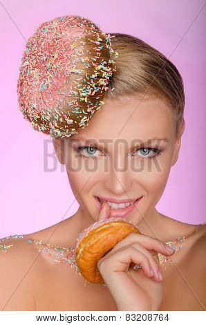 Smiling Woman, Donut On Head And Front Of Mouth