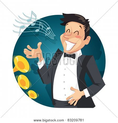 Singer sing with orchestra. Vector illustration. Isolated on white background
