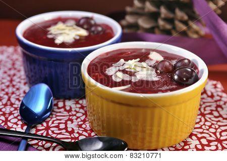Danish berry jelly dessert (rodgrod med flode)