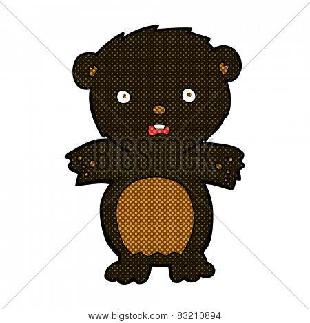 frightened black bear retro comic book style cartoon