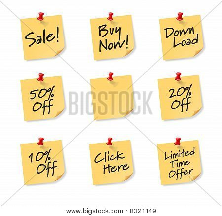 Sales Sticky Notes on white