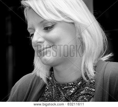 Smiling Blonde girl portrait black and white