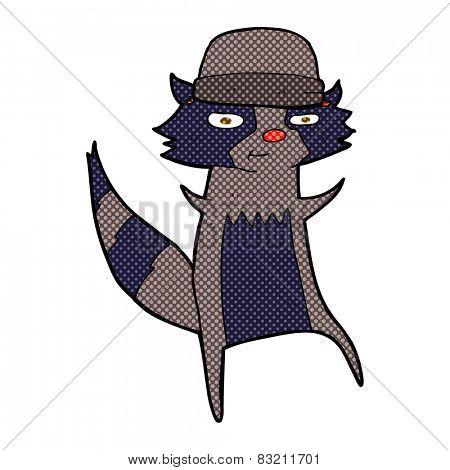 retro comic book style cartoon raccoon