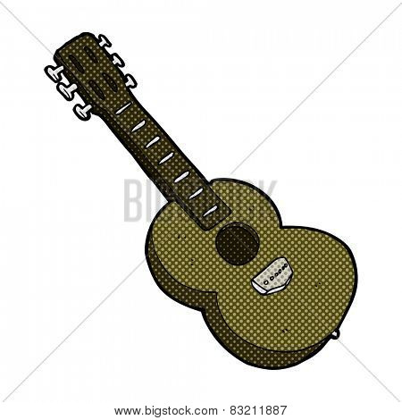 retro comic book style cartoon guitar