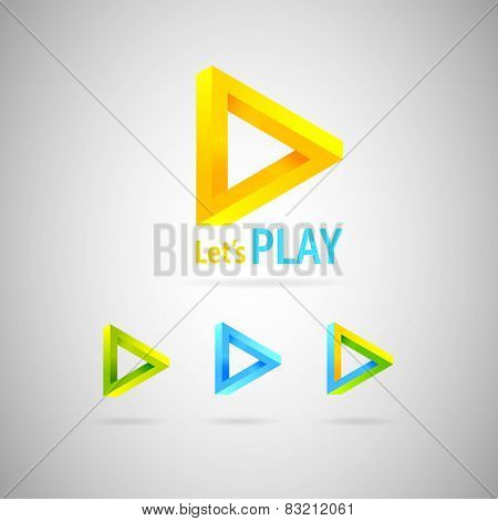 Triangle Abstract Logo.colorful Impossible Geometric Shapes.vector Illustration
