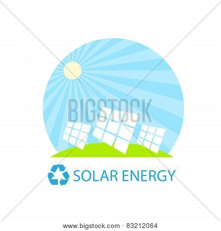 solar energy panel battery on blue sky geen grass flat design