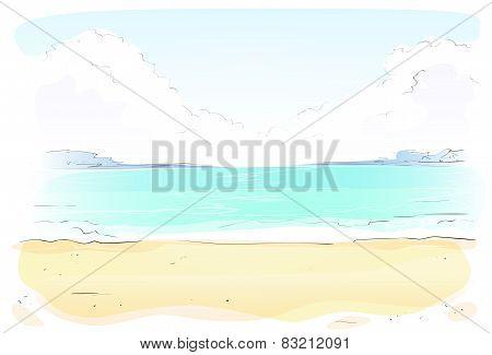 Sea Shore Sand beach Summer vacation. Vector