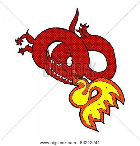 retro comic book style cartoon dragon breathing fire