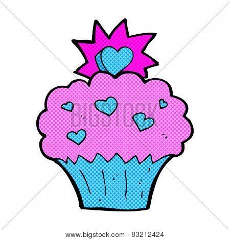 retro comic book style cartoon love heart cupcake