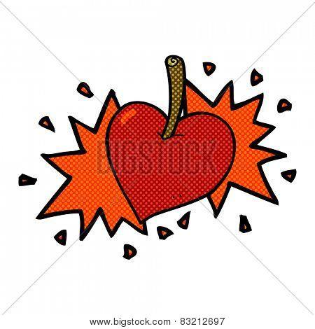 retro comic book style cartoon love heart cherry