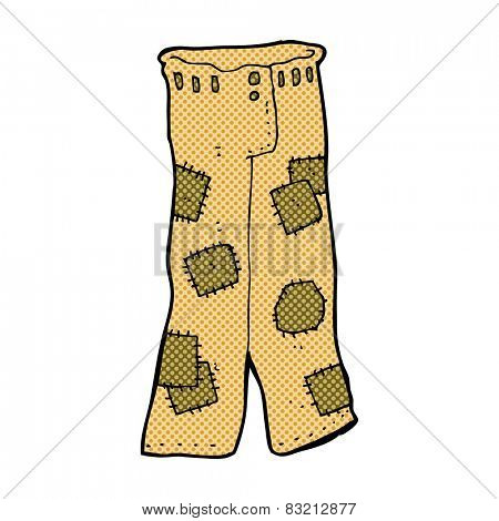 retro comic book style cartoon patched old pants