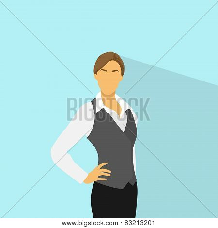 Businesswoman standing wear vest flat icon vector