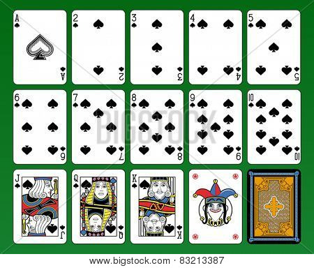 Playing cards, spades suite, joker and back. Green background.
