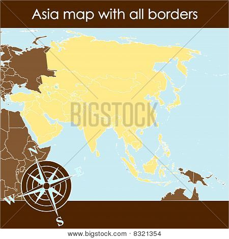 Asia Map With Compass In Sand Tones