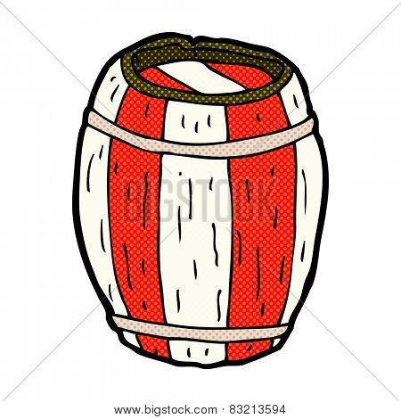retro comic book style cartoon painted barrel