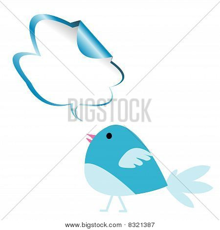 Blue Bird mit Chat bubble