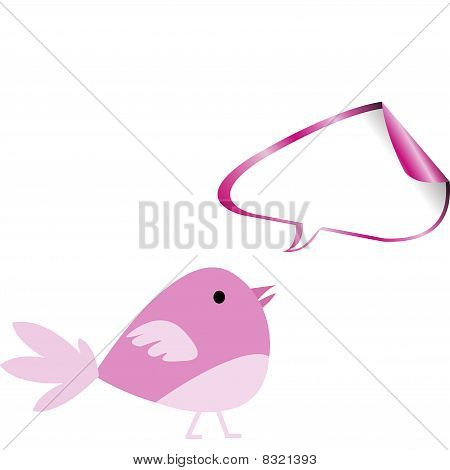Pink Bird With Chat Bubble