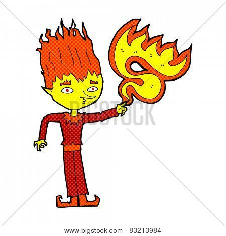 fire spirit retro comic book style cartoon