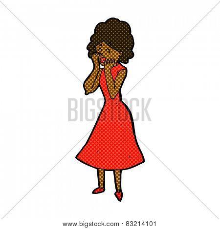 retro comic book style cartoon worried woman