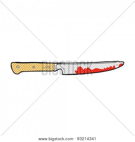 retro comic book style cartoon bloody kitchen knife