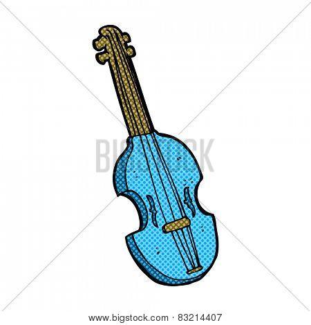 retro comic book style cartoon violin