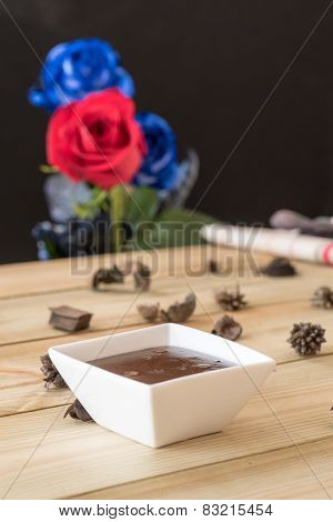 Chocolate Pudding With Strawberries And Roses Background