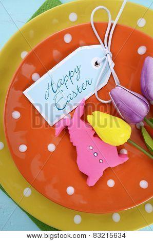 Happy Easter Bright Color Orange, Yellow And Green Polka Dot Theme Table Place Setting With Pink Fon