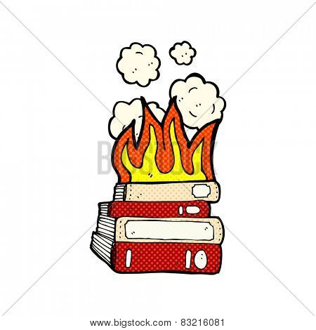 retro comic book style cartoon old books burning