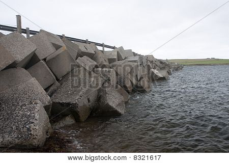 Breakwater Blocks At Churchill Barriers, Orkneys