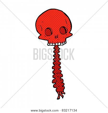 spooky retro comic book style cartoon skull and spine