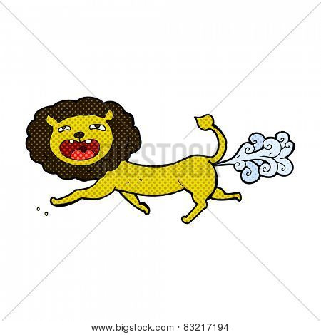 retro comic book style cartoon farting lion