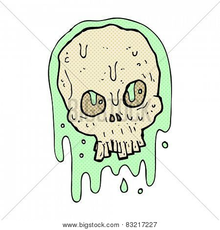 retro comic book style cartoon slimy skull