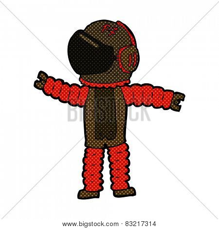 retro comic book style cartoon astronaut reaching