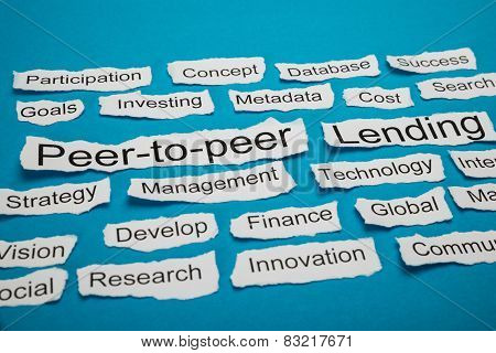 Peer-to-peer And Lending Text On Piece Of Torn Paper