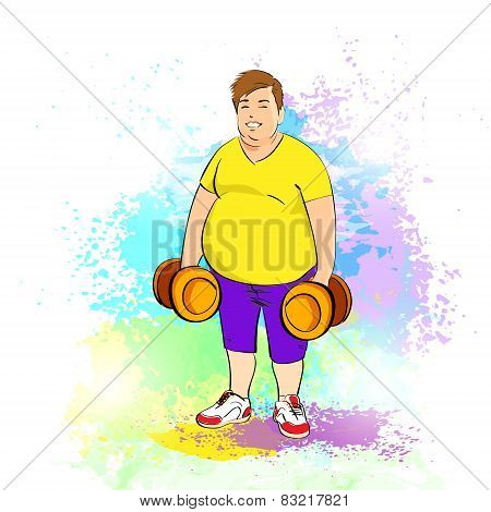 Fat overweight sport man hold dumbbells, cartoon guy over colorful splash paint background