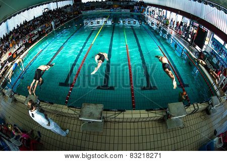 LECCO - DECEMBER  23: Starting men freestyle  performing freestyle  in  Swimming Meeting on December