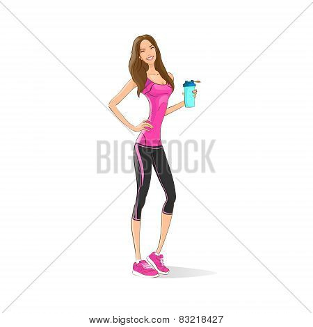 Sport woman hold shaker drink fitness trainer, hot sexy girl bodybuilder athletic muscle over white