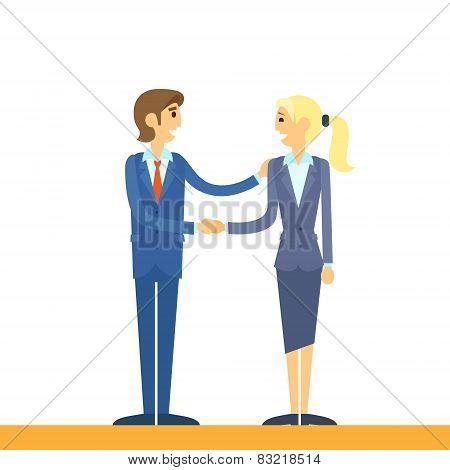 Business people handshake, businessman and businesswoman hand shake